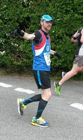 Simon at the half way point of his 26.2 miles.