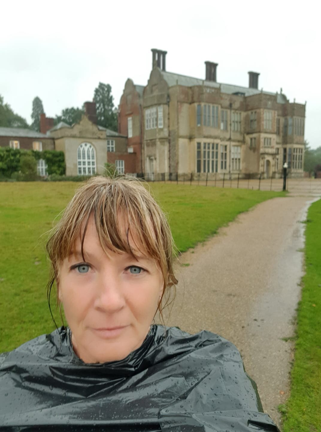 A soggy Nicky McGee at the Felbrigg hall Trail 10k.