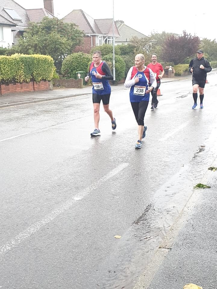 Easy like Sunday morning…Vicki and Clare in the foul weather conditions.