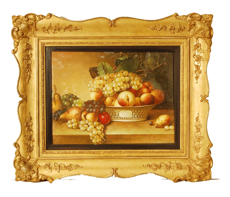 Stillleben mit Obst; Öl/Leinwand; Rahmen des 19.Jh