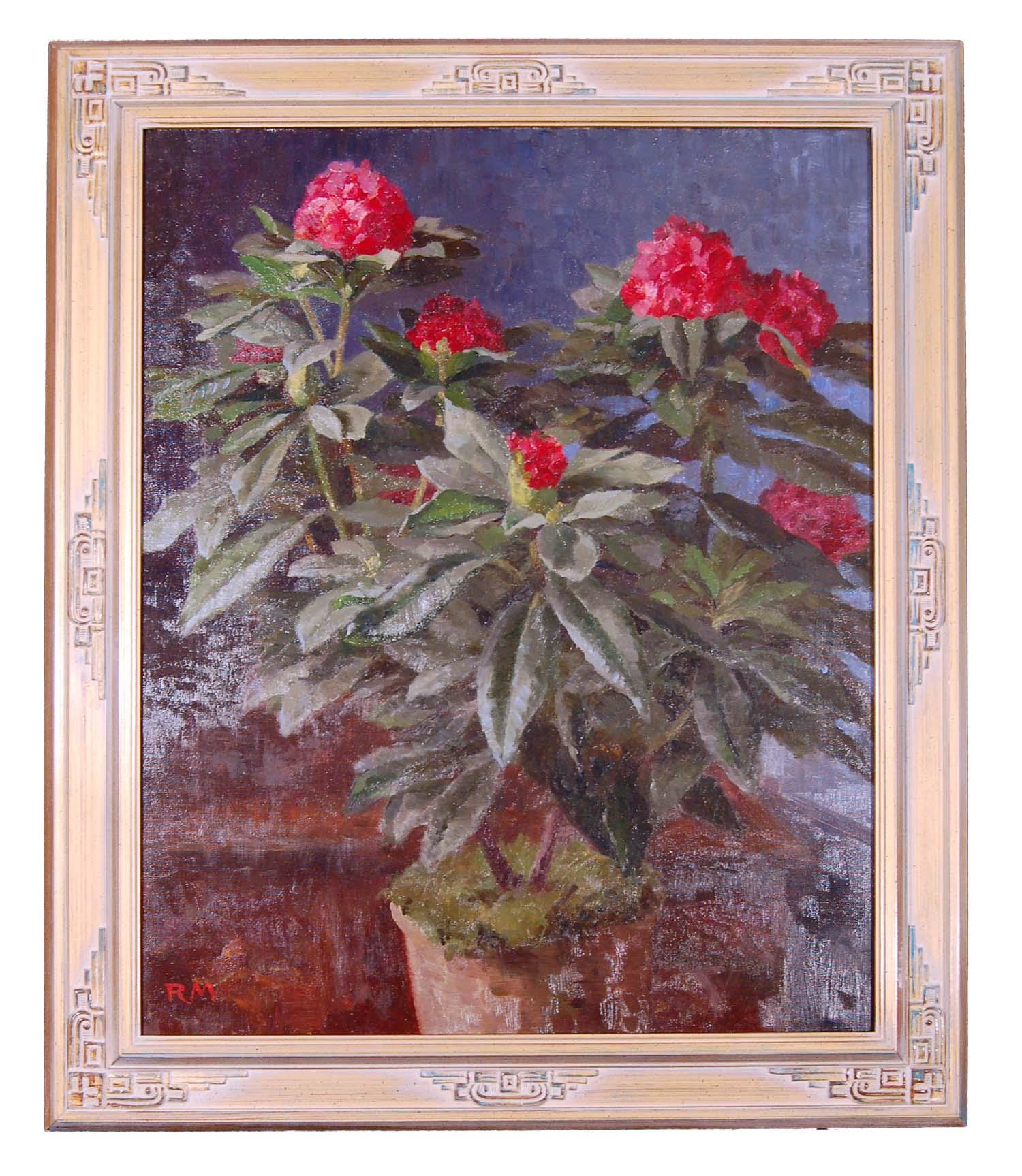 """Mahler Richard, Landschafts- und Blumenmaler Wien, Öl/Leinwand, sign. R.M., """"Hortensien im Topf"""" 73x88cm"""