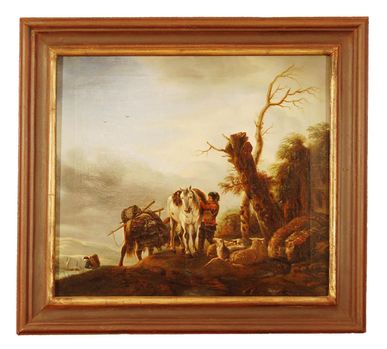"""Niederländisch, 18./19.Jh; """"Reiters Rast""""; Öl auf Leinwand, 50x45cm"""