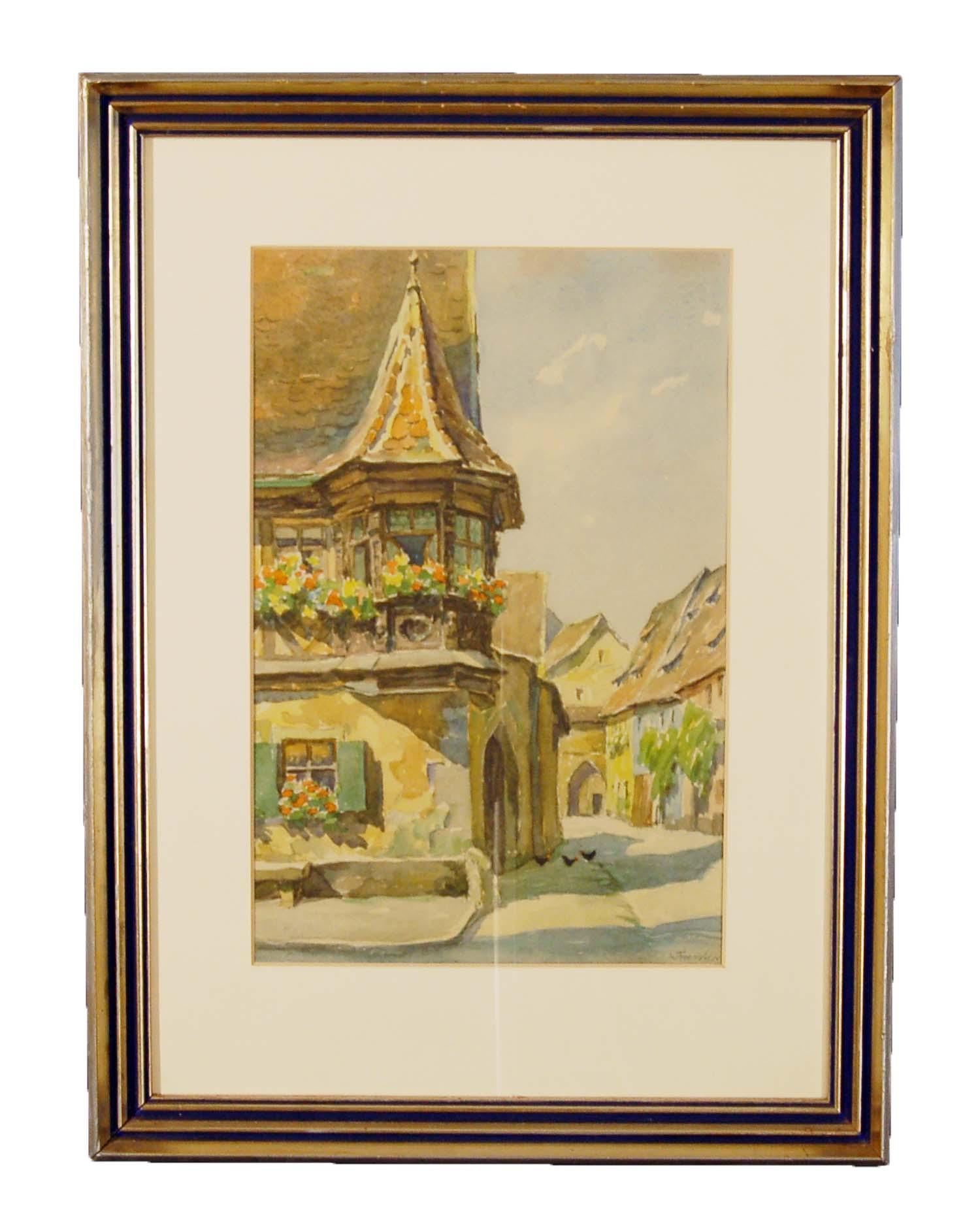 W.Foster (sign.), Altstadtgasse (Rothenburg ob der Tauber), Aquarell/Papier, 40x54cm