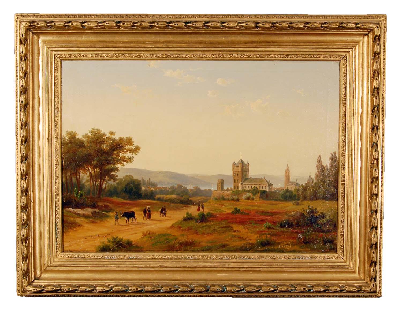 """Ludwig Carl Julius Emil, 1839-1901, Landschaftsmaler; Bilder in der Nationalgalerie Berlin; Landschaft Öl/Leinwand sign. 1859; """"Blick auf Burg und Stadt Eltville"""", 82x63cm"""