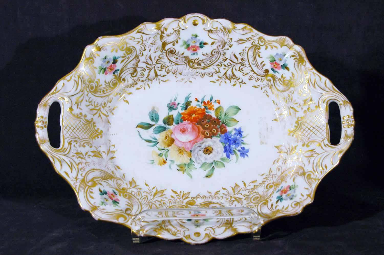Porzellanschale, bunte Blumenbemalung, goldstoffiert, Marke Schlaggenwald, 19.Jh, Länge ca. 30cm