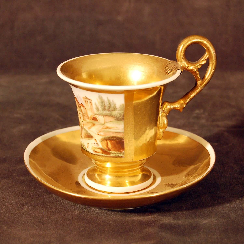 Porzellan-Tasse vergoldet, Empire, 19. Jh