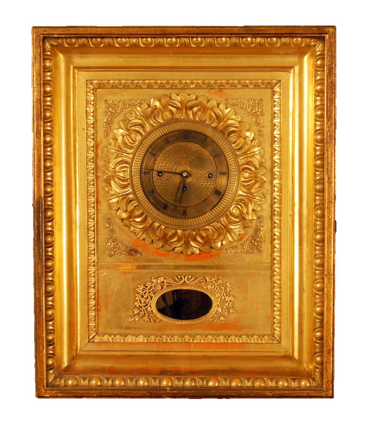 Biedermeier-Rahmenuhr, 19.Jh; 4/4-Schlag, orig.-Vergoldung, intakt, ca. 42x52x17cm(B/H/T)