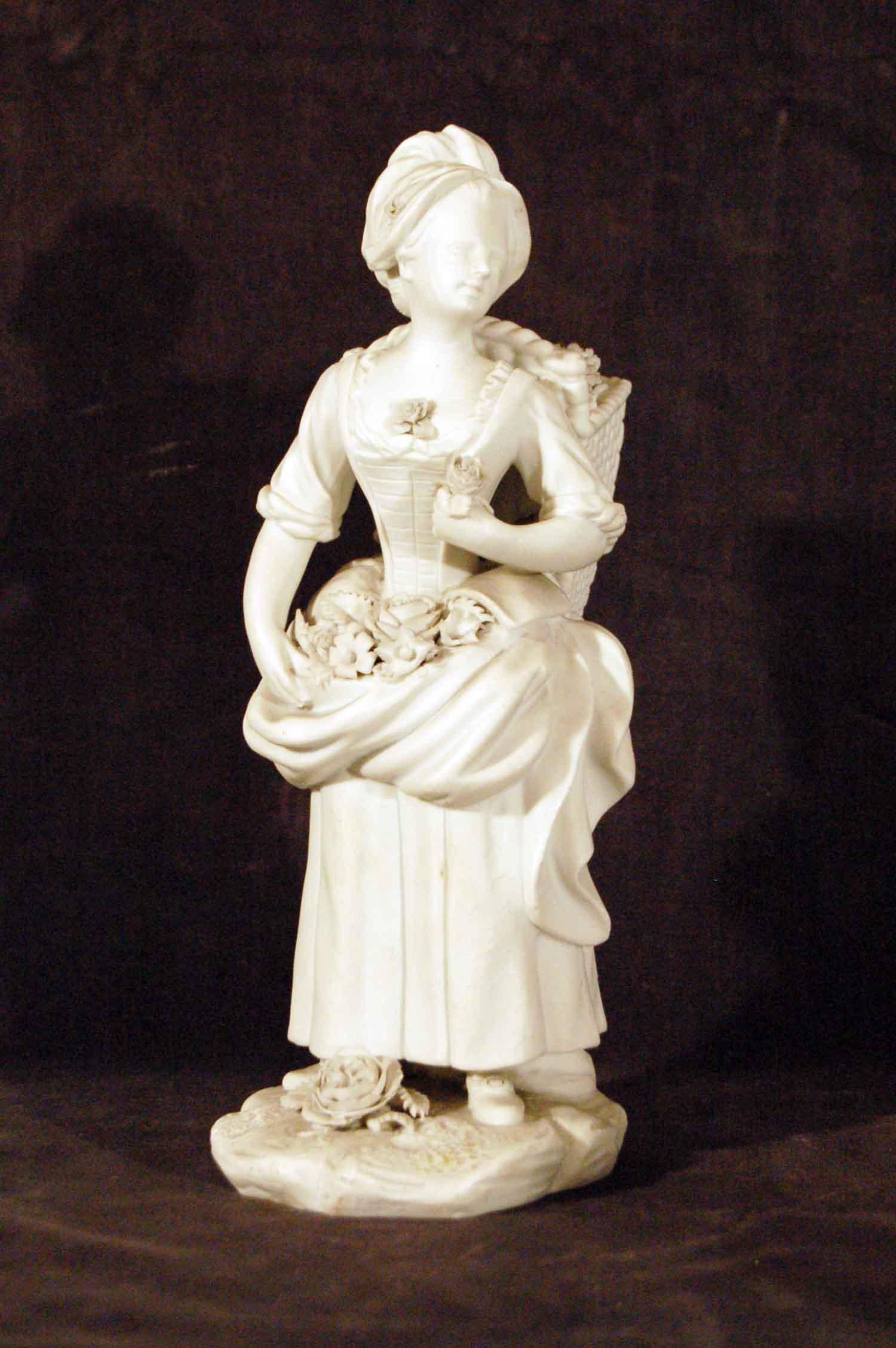"""Bisquit-Porzellan """"Blumenfrau"""", Marke H.P. für Paris, 18.Jh, Höhe 24cm"""