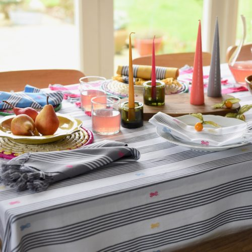 Montes & Clark: Large Hand woven Grey and White Tablecloth.