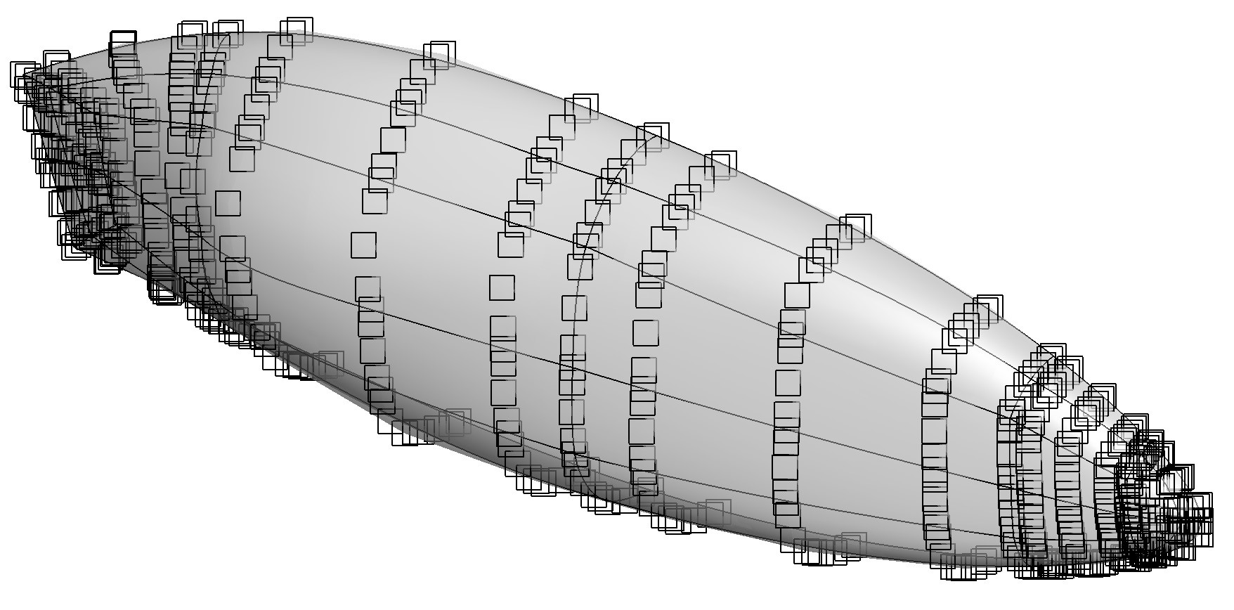 Control point distribution over Eta used for the optimizations. Use of the adjoint method allows the shape to be parametrized by many control points for optimization.