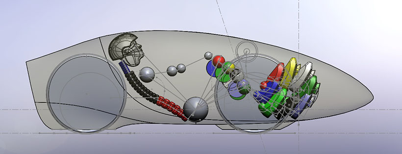 Layout of the new bike, showing pilot position and wheels, with sketches of the steering axis and intermediate drive location.