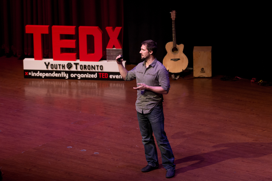 Todd speaking about challenges at TEDxYouth Toronto (Photo Credit TEDxYouth Toronto).