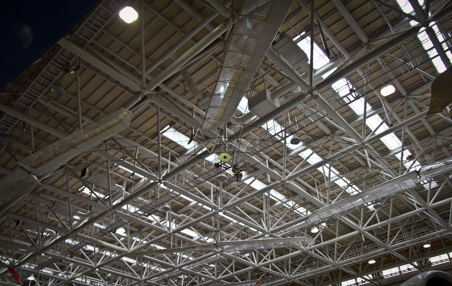 The Yuri I camouflaged amongst the truss-work of the ceiling.