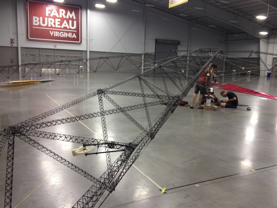 """Gamera""""s cantilevered truss-arms are comprised of """"micro-trusses"""". This is an incredibly effective method of getting additional buckling resistance out of carbon fiber composites."""