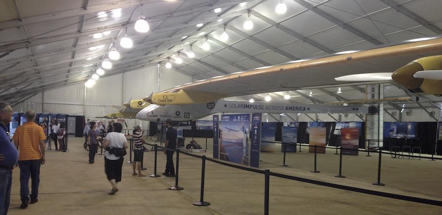 "Solar Impulse on display at the Smithsonian""s Udvar-Hazy Centre outside Washington, D.C."