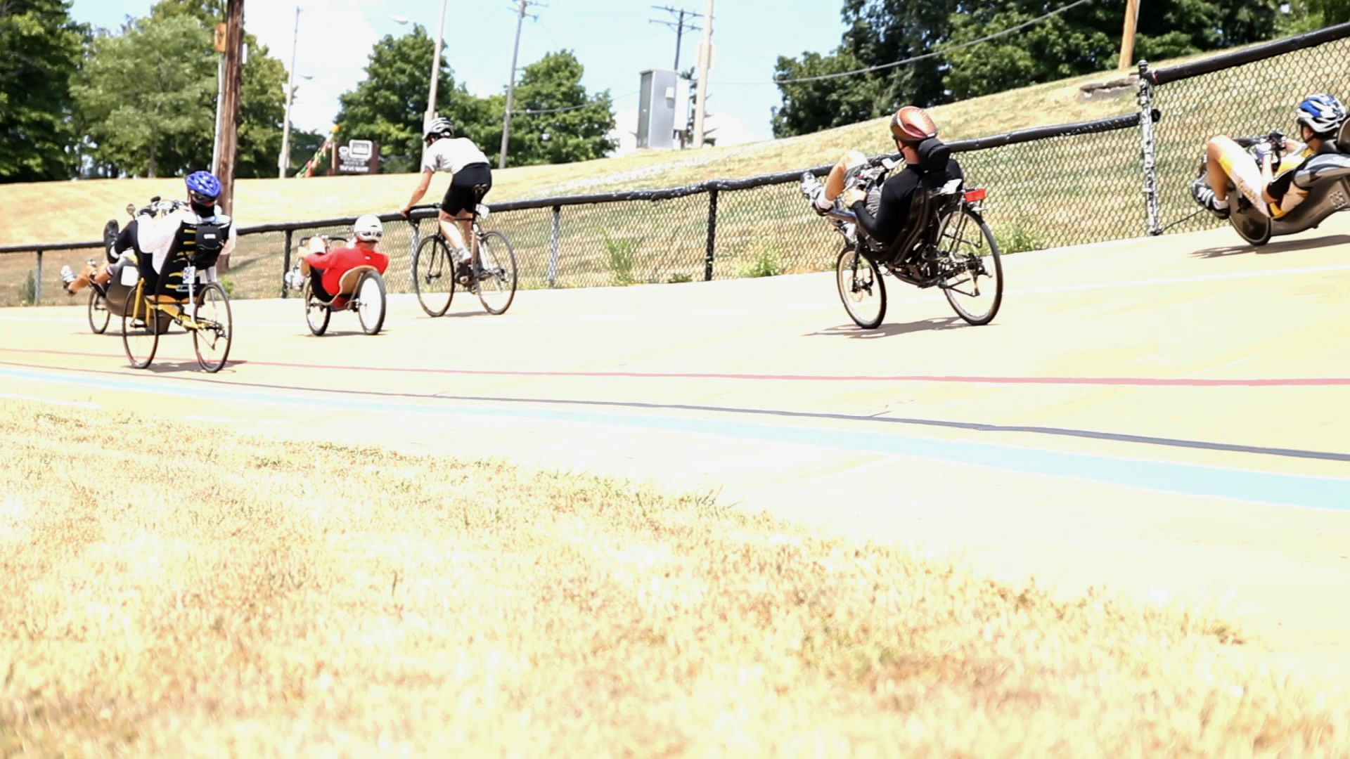 The stock class races. Nick is on his upright bike at Kenosha, with Calvin trailing just behind him on the recumbent.