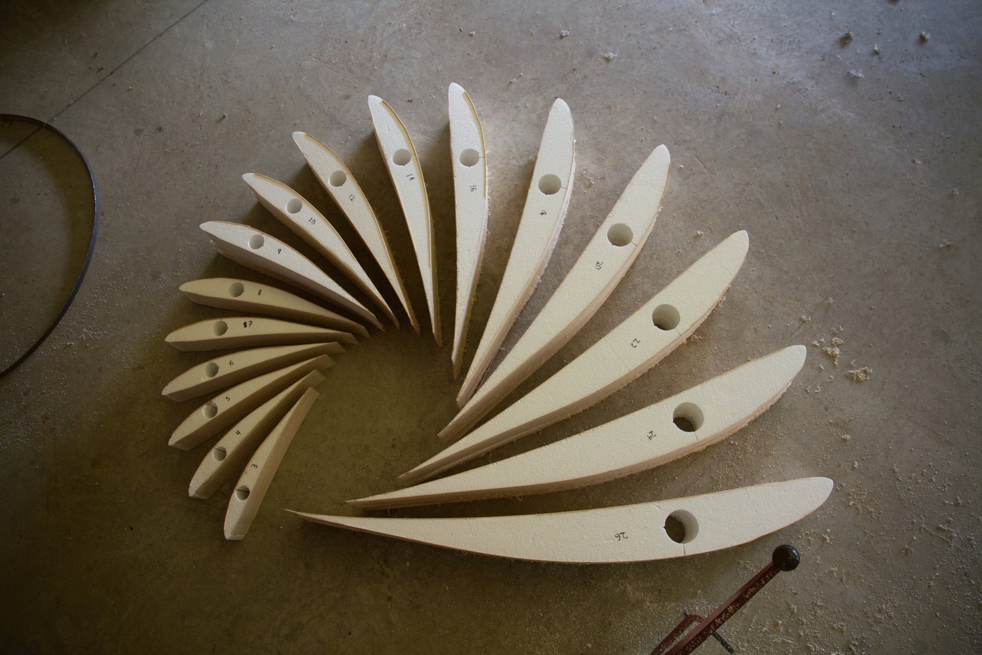 An artistic arrangement of the foam and balsa wood ribs thatwill give the rotor its shape.