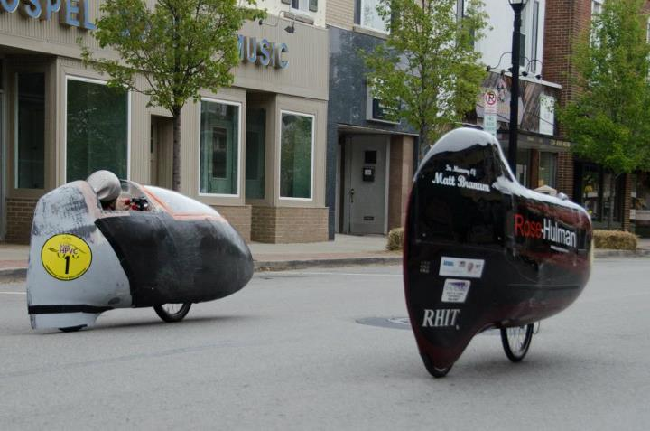 """U of T""""s """"Bluenose"""", left, goes head-to-head with Rose-Hulman""""s """"Carnot Cycle"""" in the semi-finals of the Men""""s Drag Race Event."""
