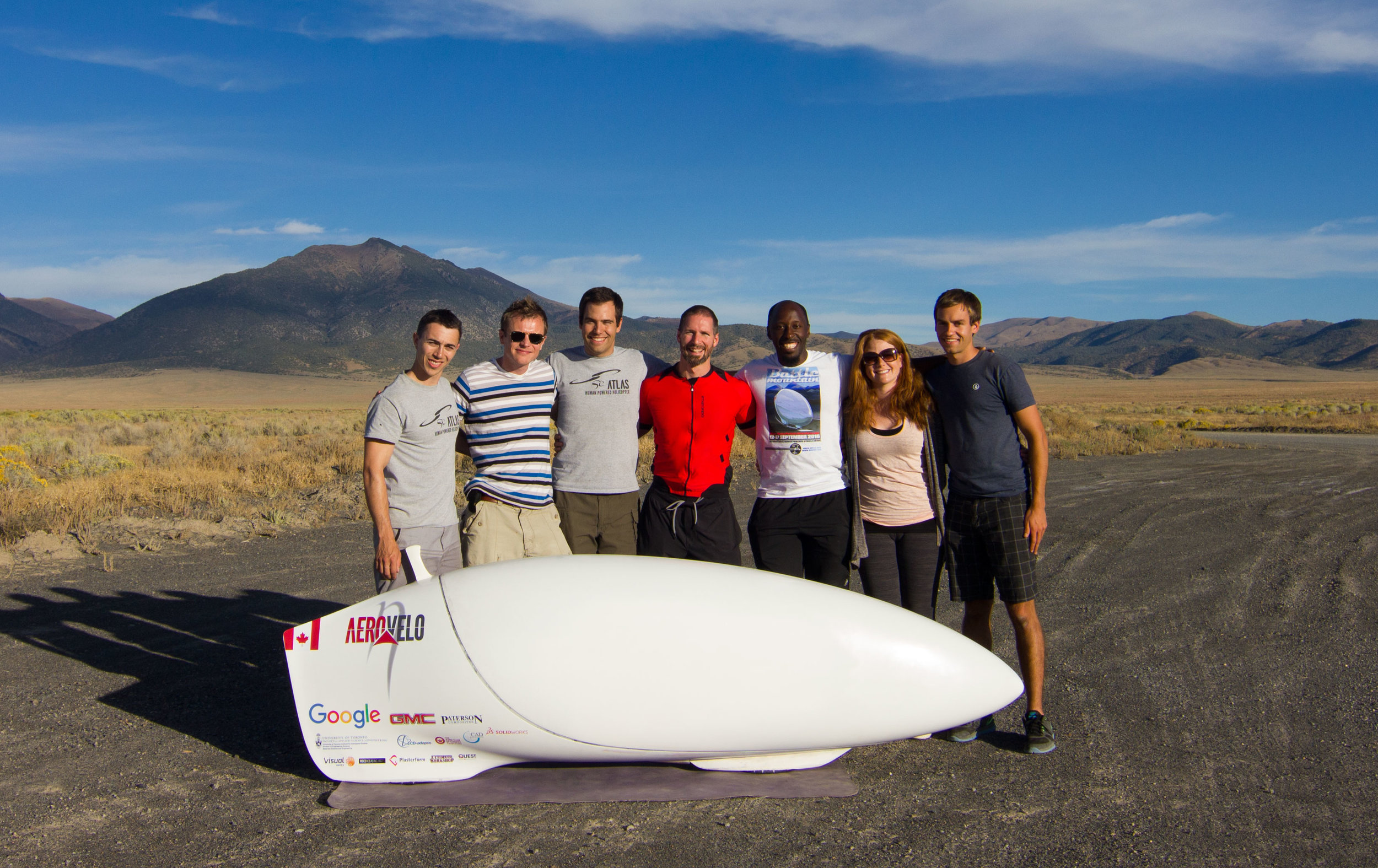 The Aerovelo team gathered together once more, this time coming from various parts of the U.S.A. and Canada. From left: Trefor Evans, Tomek Bartczak, Cameron Robertson, Todd Reichert, Mike Kiiru, Jenny Reichert, and Alex Selwa.