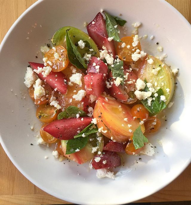 Heirloom Tomatoes and Pluots!! (....with some Thai basil & Narraganset Feta) #Molinolacondesaoliveoil #summertime #yummmm