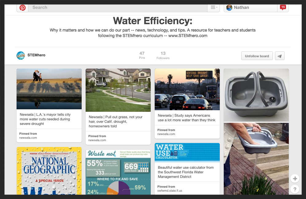 Water efficiency: tips and supplemental non-fiction sources (curated for students)