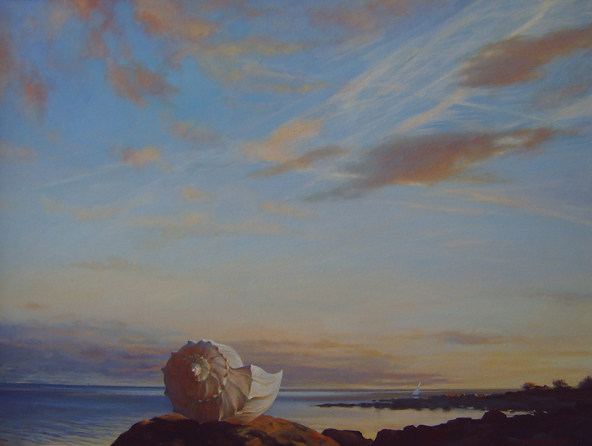 "Shell, Sail, Sunset   40"" x 30"" 2004, oil on linen"