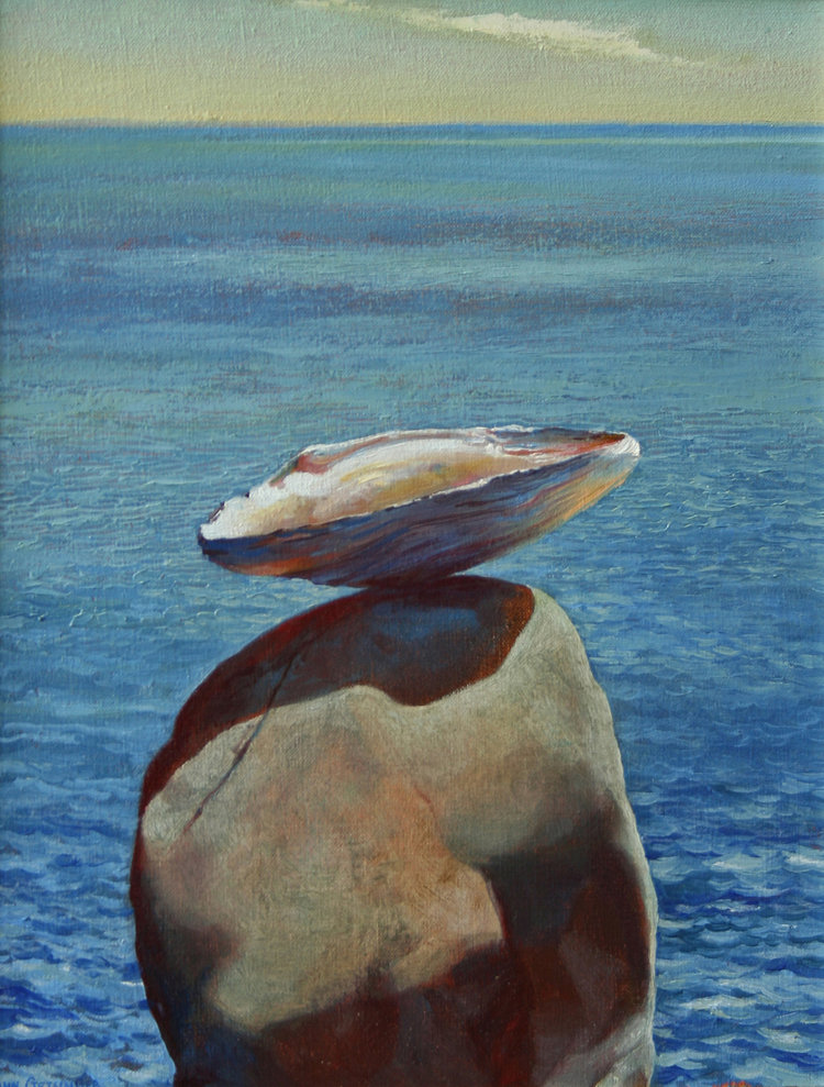 "Balanced Mussel  14"" x 11"" 2006, oil on linen"