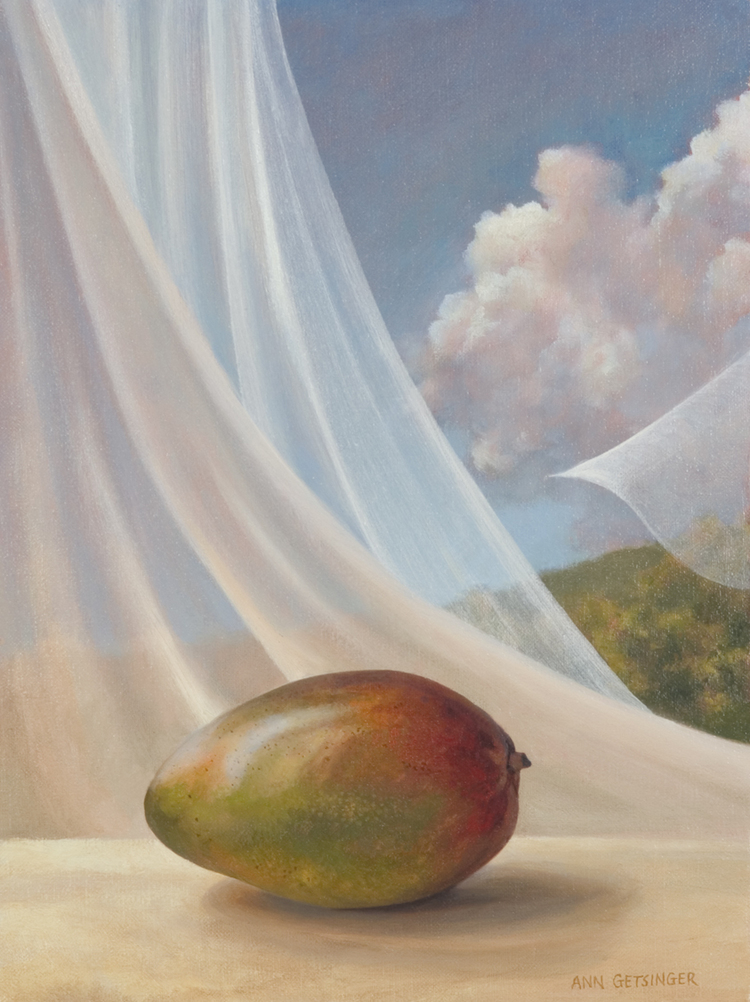 "Mango and Curtain  14"" x 11"" 2002, oil on linen"