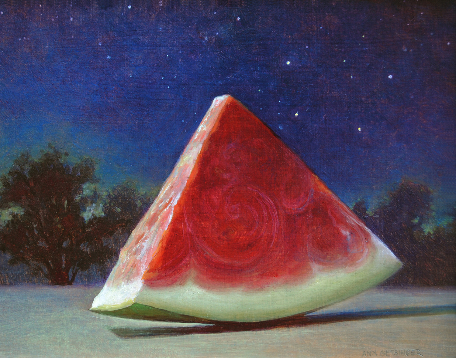 "Night Slice  8"" x 10"" 2010, oil on rag panel"
