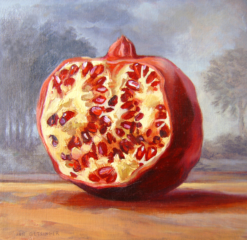 "Pomegranate Twilight  8"" x 8"" 2004, oil on panel"
