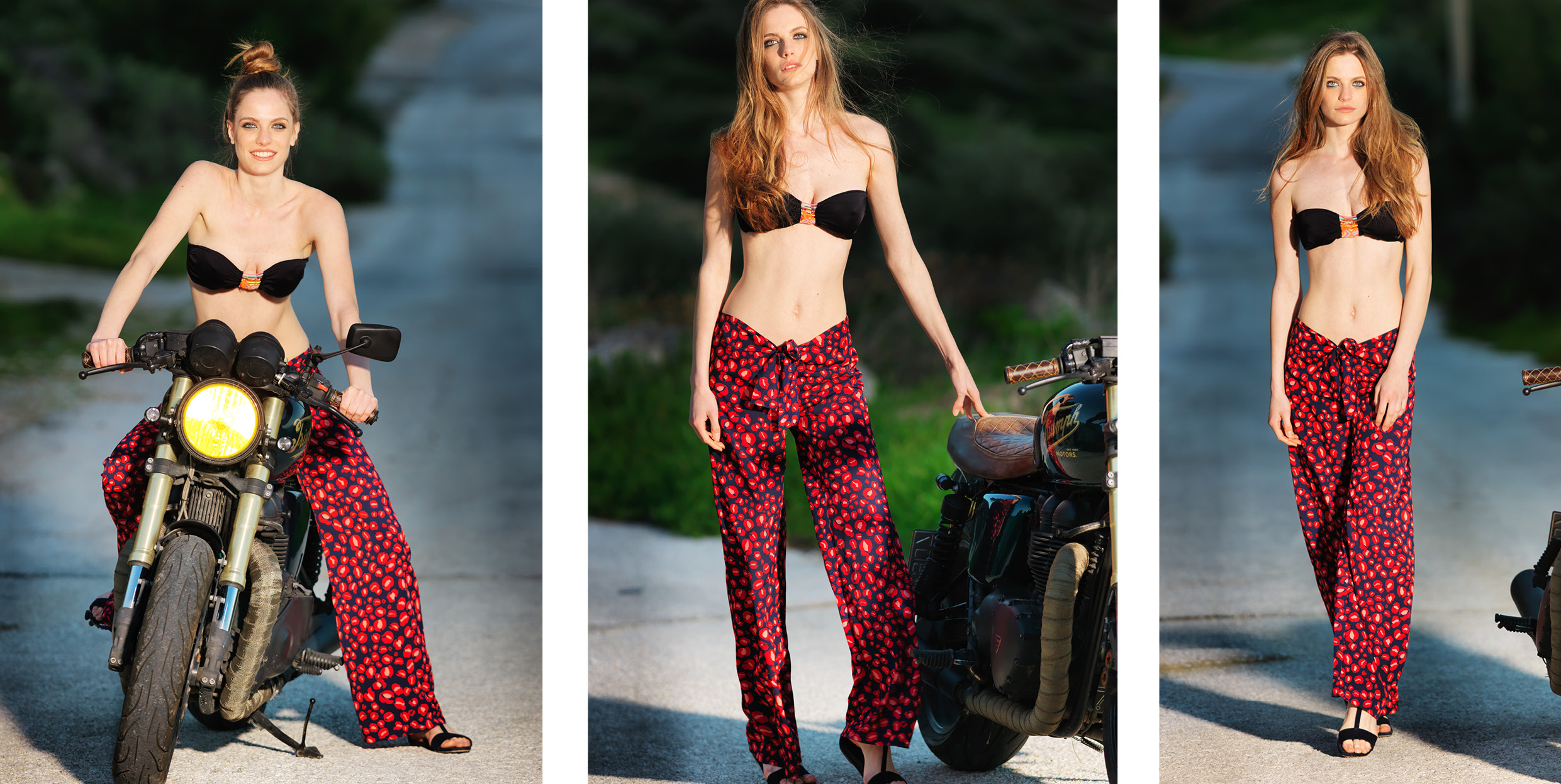 """""""Sand Kiss"""" 100% polyester front tie trousers"""