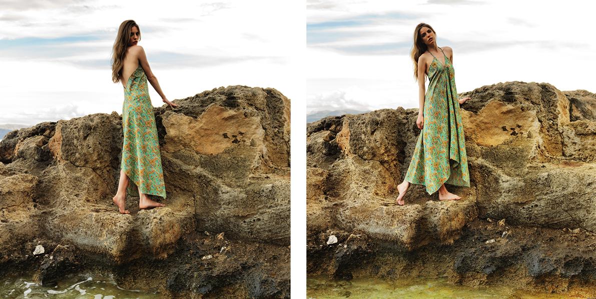 """Daphne"" dress. 100% cotton asymmetric halter tie up dress in peacock green (C300)"