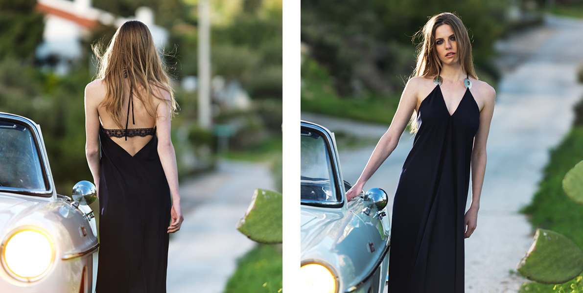 """""""Phaedra"""" dress. 100% Polyester crepe satin, asymmetric halter tie up dress floor length. Limited edition styled with vintage jewellery and a back lace detail. Jewellery is removable and the lace can be unbuttoned for a naked back look. Black (C400)"""