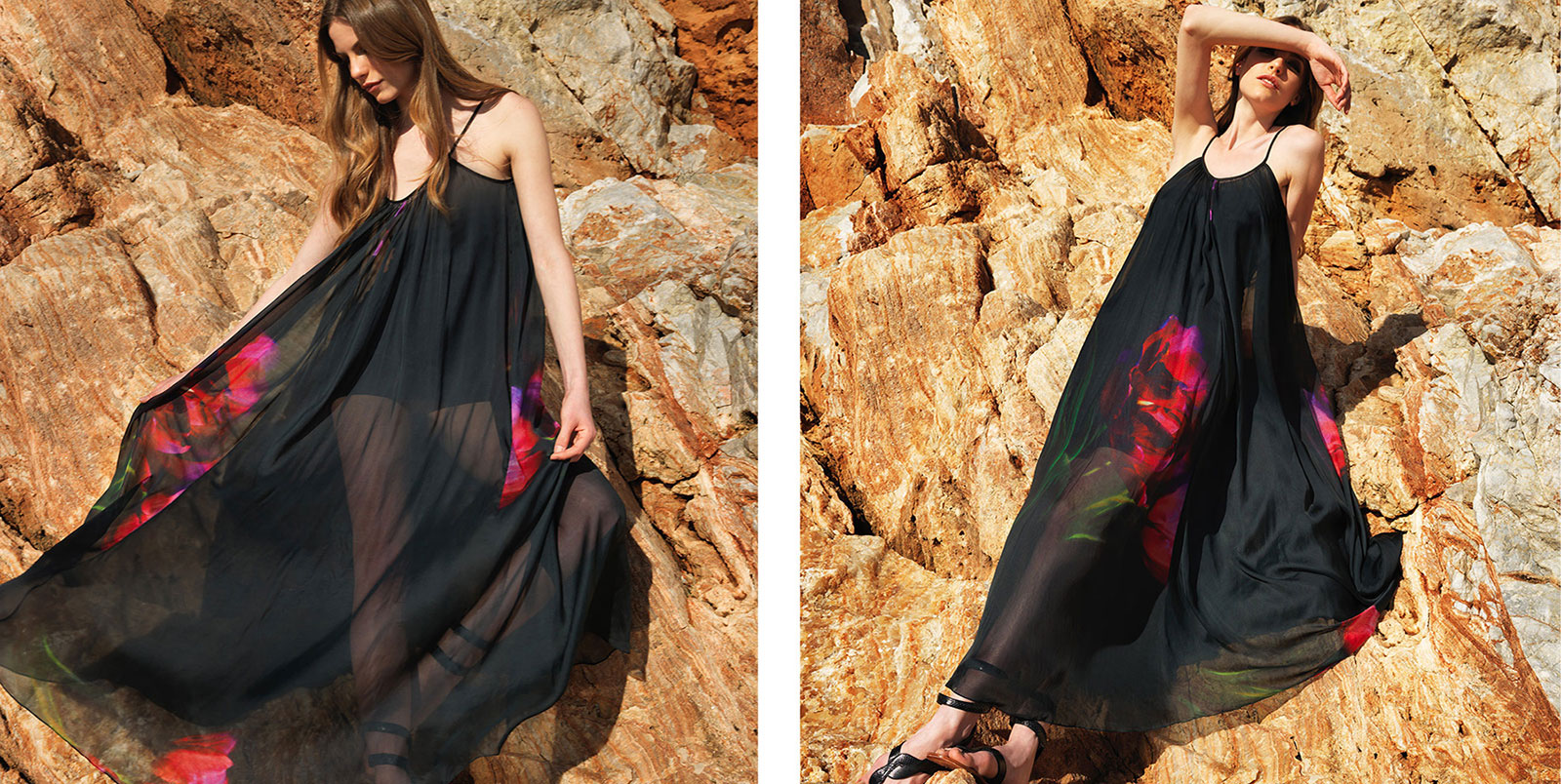 """Eva"" dress. 100% silk chiffon floor length dress in black with red printed flower (C100)"