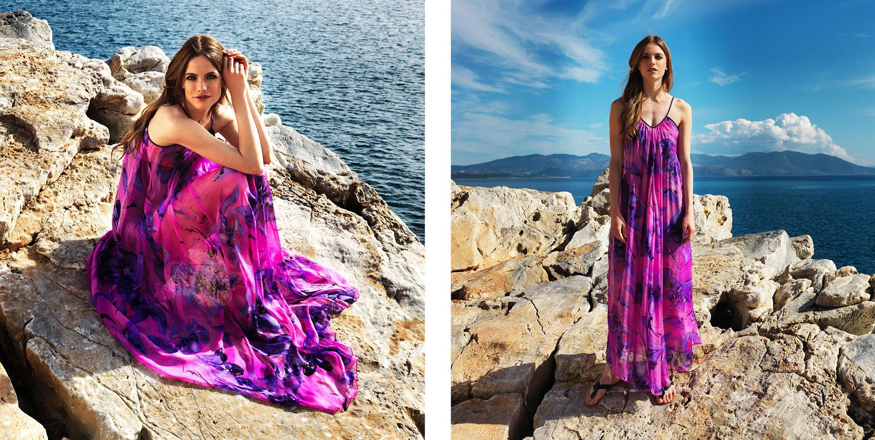 """Eva"" dress. 100% silk chiffon floor length dress in bright pink with mauve flower print (C102)"