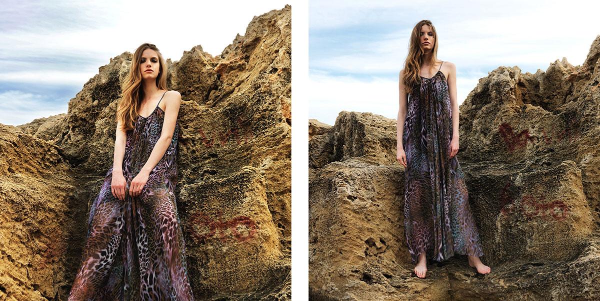 """Thalia"" dress. 100% polyester chiffon floor length dress in green purple black multi colour animal print (C203)"