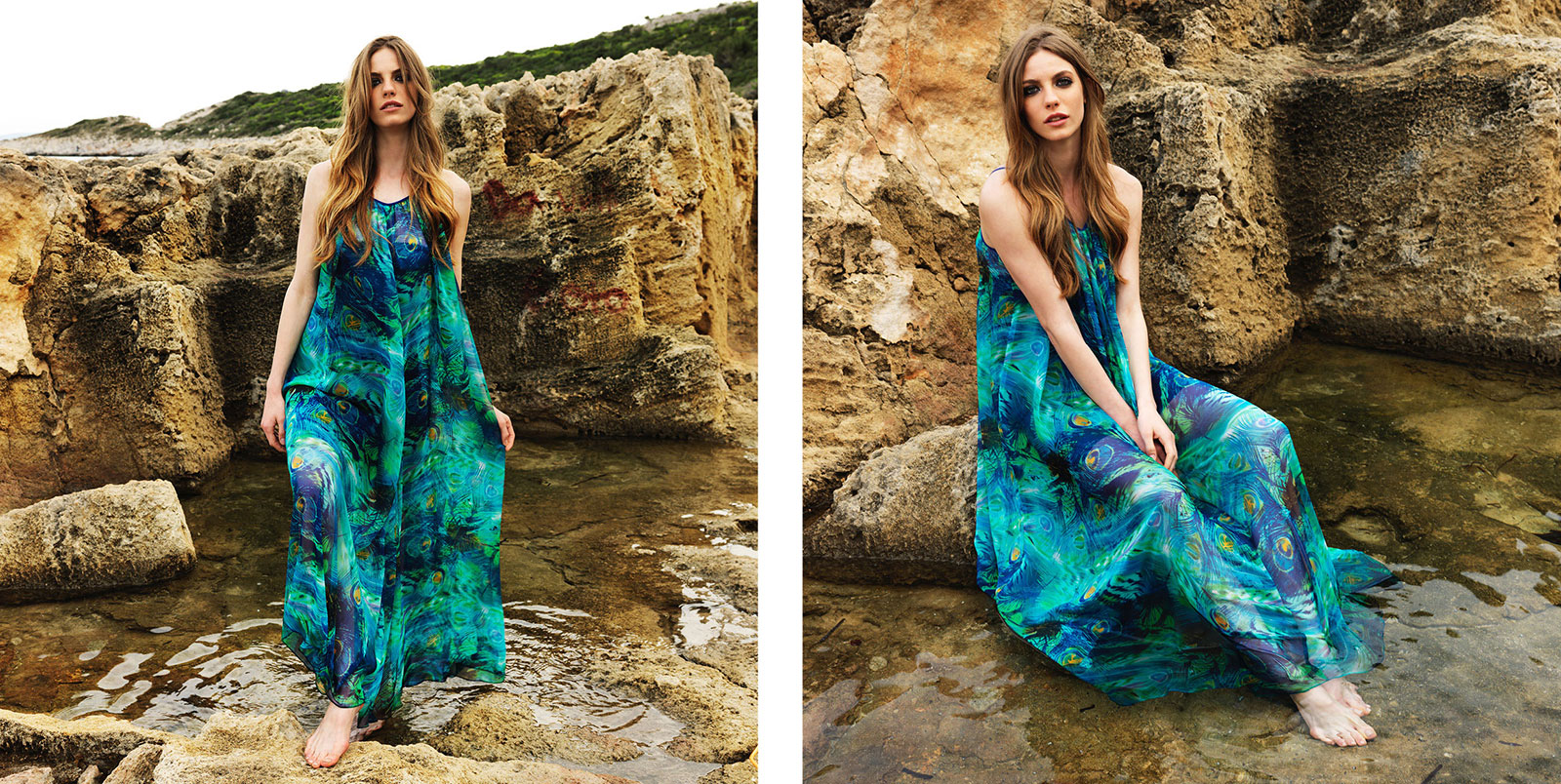 """Thalia"" dress. 100% polyester chiffon floor length dress green and blue peacock pattern (C201)"
