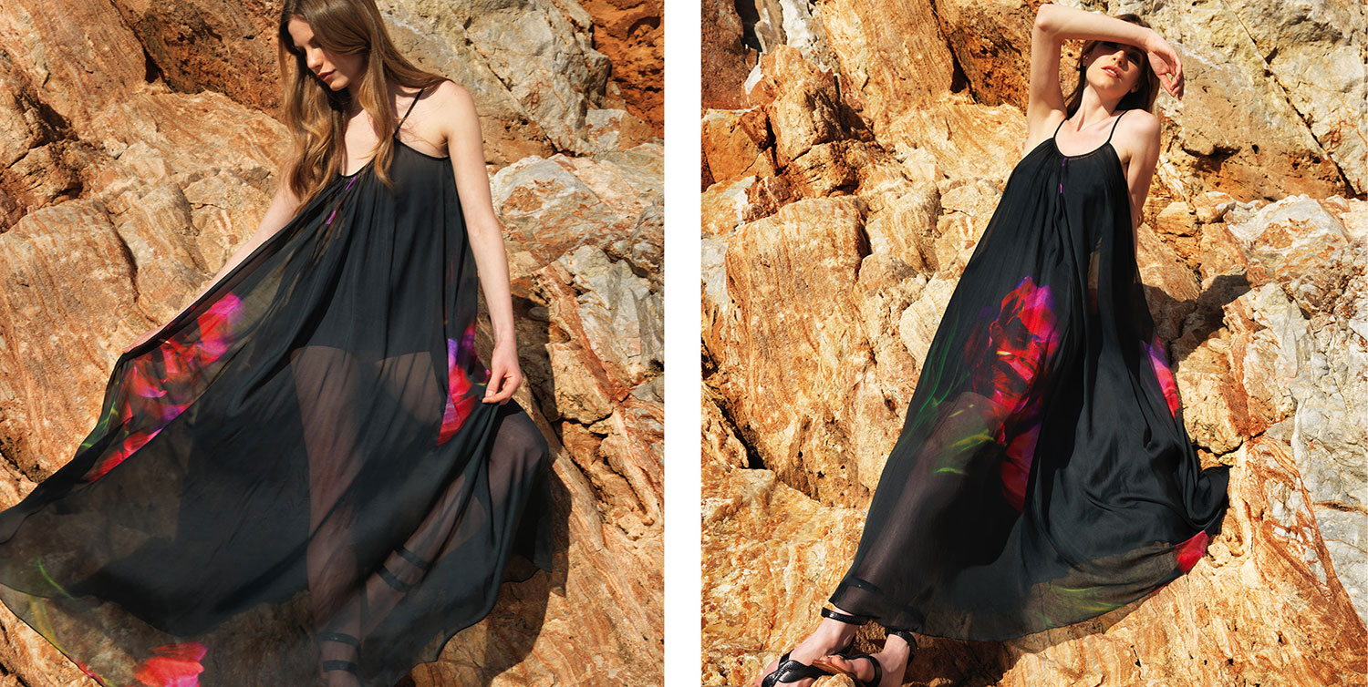 100% silk chiffon floor length dress in black with red printed flower (C100)