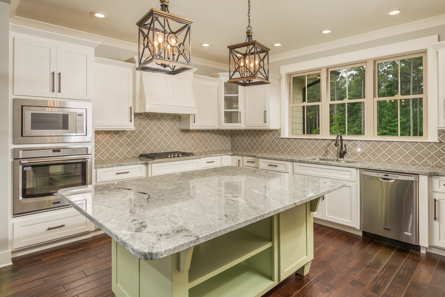 custom kitchen with gas stove