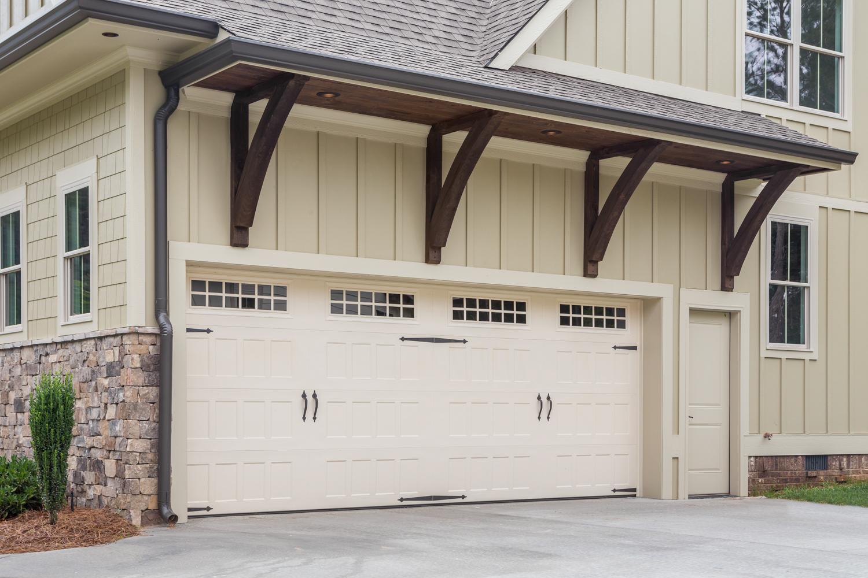gable covered garage door