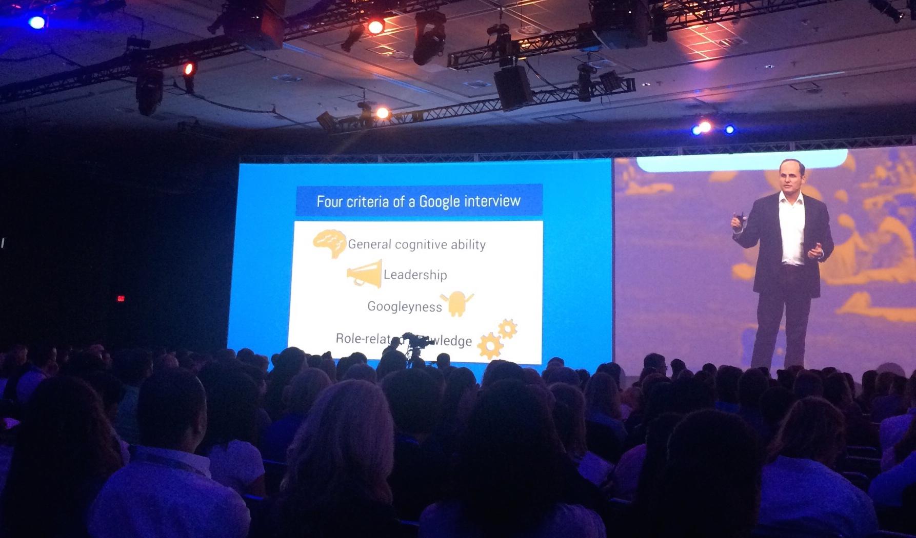 Google Head Recruiter, Lazlo Bock on stage talking about Googleyness