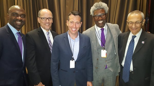 Left to right: Mike Blake, Tom Perez, David Plouffe, Cornell Belcher, John Podest