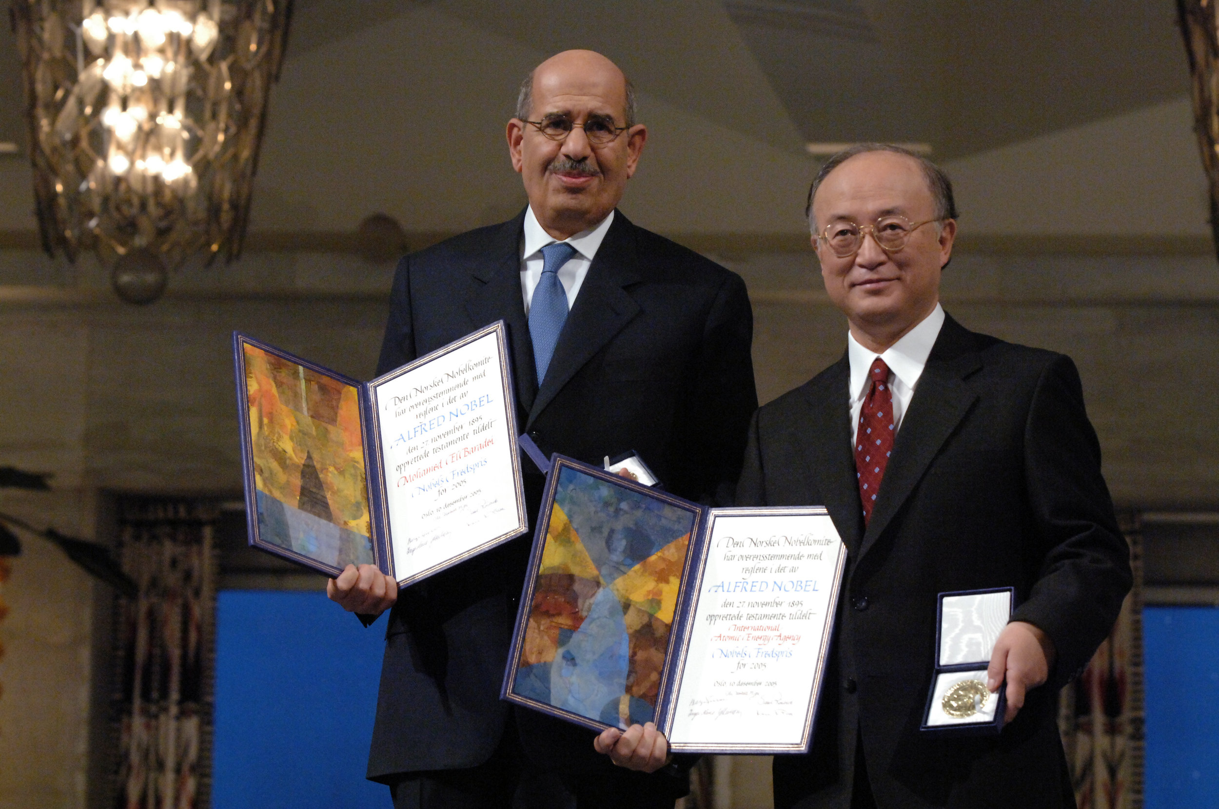 The Nobel Peace Prize 2005 was awarded to Director General Dr. Mohamed ElBaradei and the IAEA represented by Japanese Ambassdor Yukiya Amano. (Nobel Peace Prize Celebrations December 8-11, 2005, Oslo, Norway)