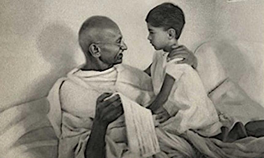 Gandhi with his grandson