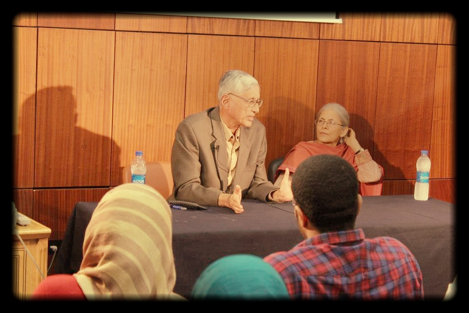 Rajmohan and Usha Gandhi in a workshop at the Alexandria Library with Egyptian youth, 2012