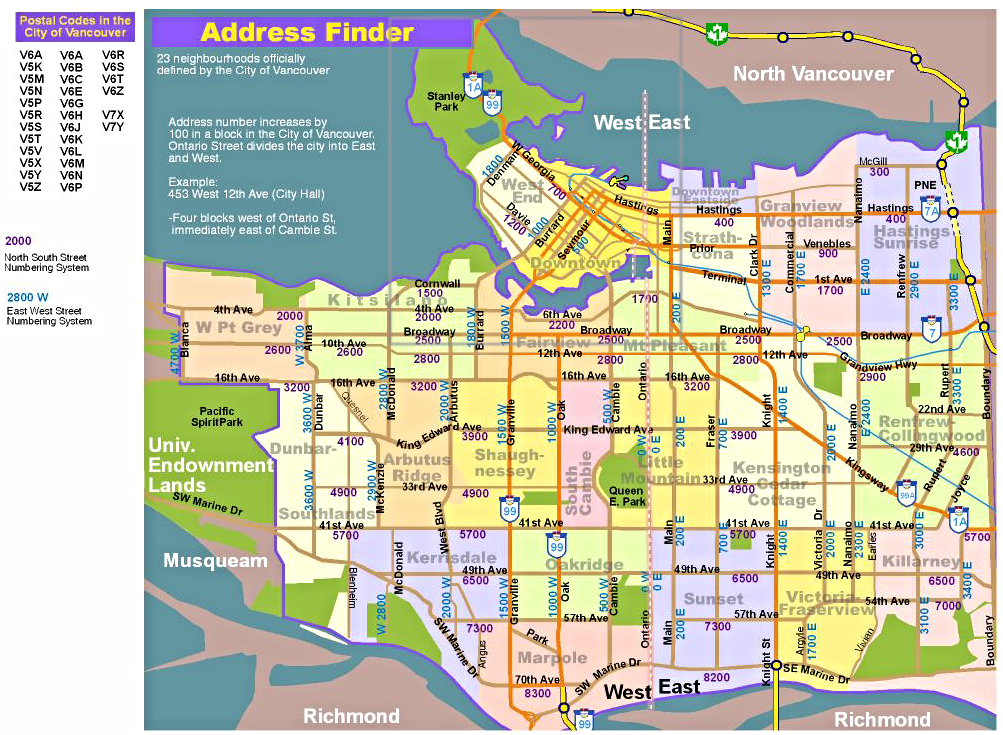 Detailed Neighbourhood Map of Vancouver