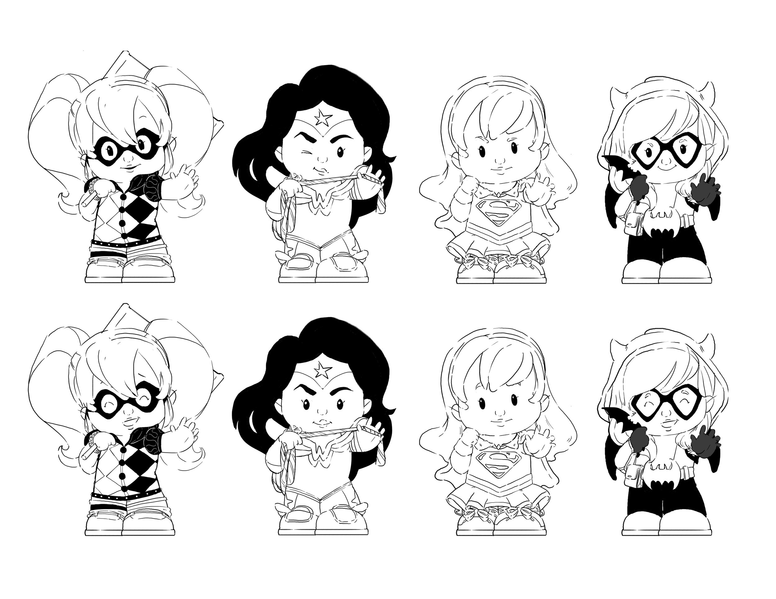 DC Super Hero Girls Figurines: Harley Quinn, Wonder Woman, Supergirl, Batgirl