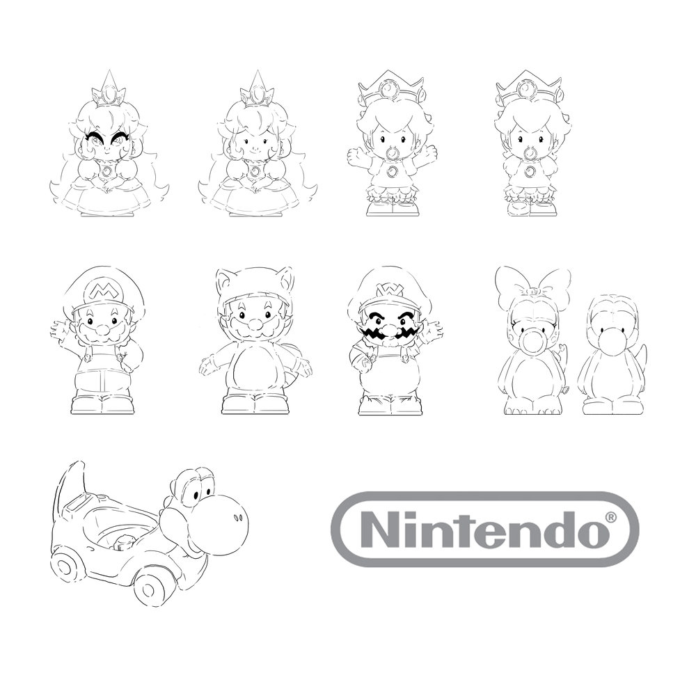 Mario Kart Wheelies Figurines: Princess Peach, Baby Peach, Mario, Tanooki Mario, Wario, Birdo, Yoshi, Yoshi Cart