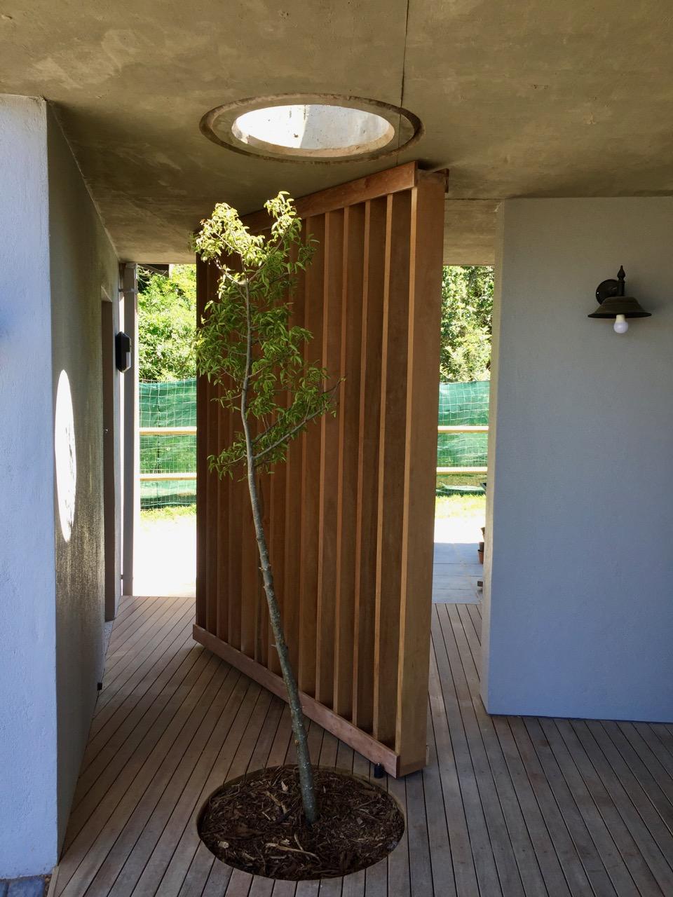 Timber Pivot Screen - Open