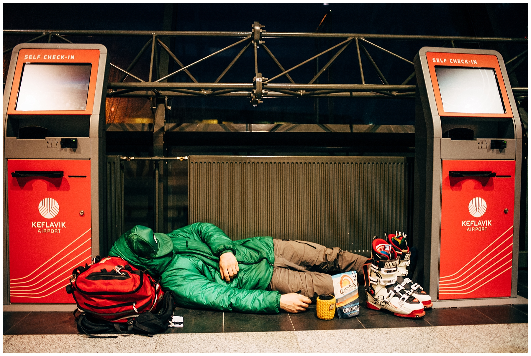 We found Erik like this in the Reykjavik airport after spending 24 hours waiting for his lost ski bag. It didn't arrive, and neither did ours.